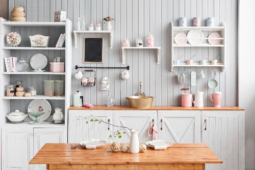 Open shelving is just one option in the 2020 kitchen design trends.